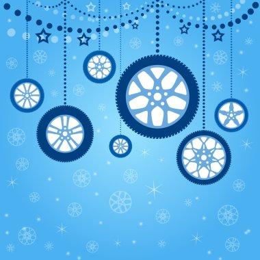 Christmas card with stylized Christmas balls
