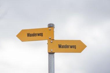 Sign post of swiss alps
