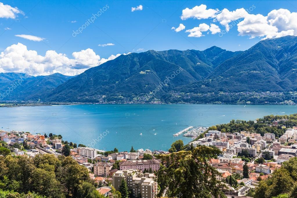 Locarno city and Mggiore lake