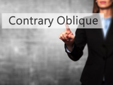 Contrary - Oblique - Businesswoman hand pressing button on touch