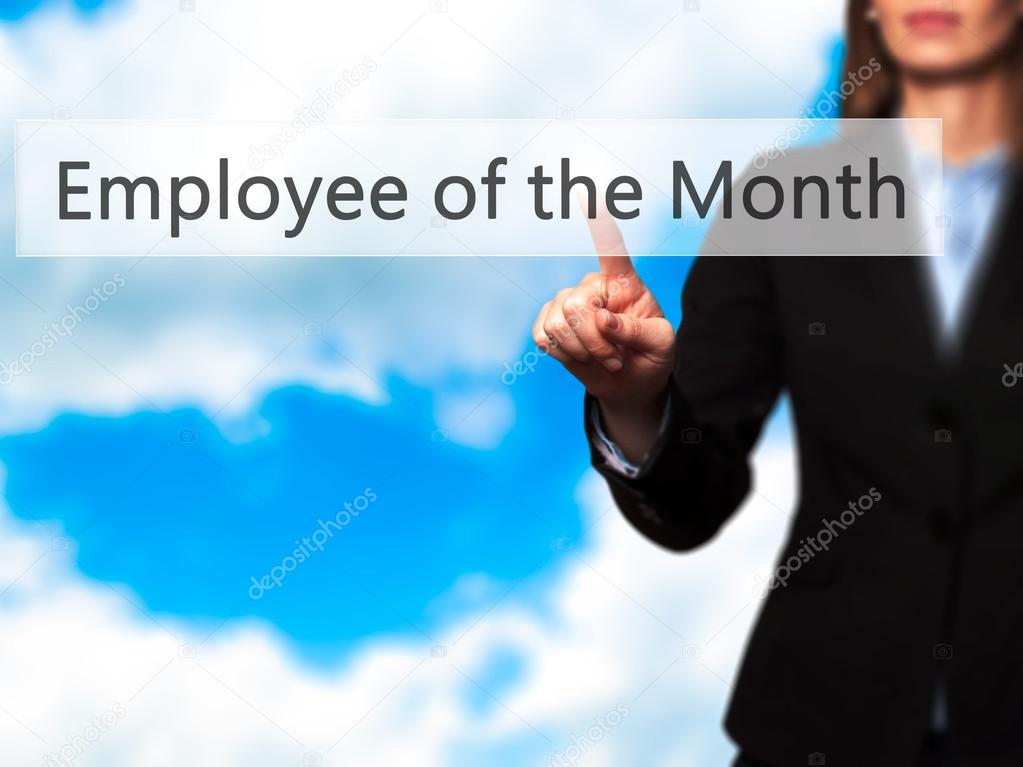 employee of the month businesswoman hand pressing button on to