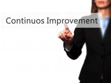 Continuos Improvement - Successful businesswoman making use of i