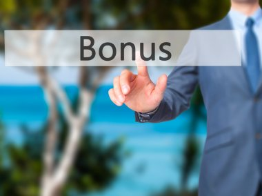 Bonus - Businessman hand touch  button on virtual  screen interf