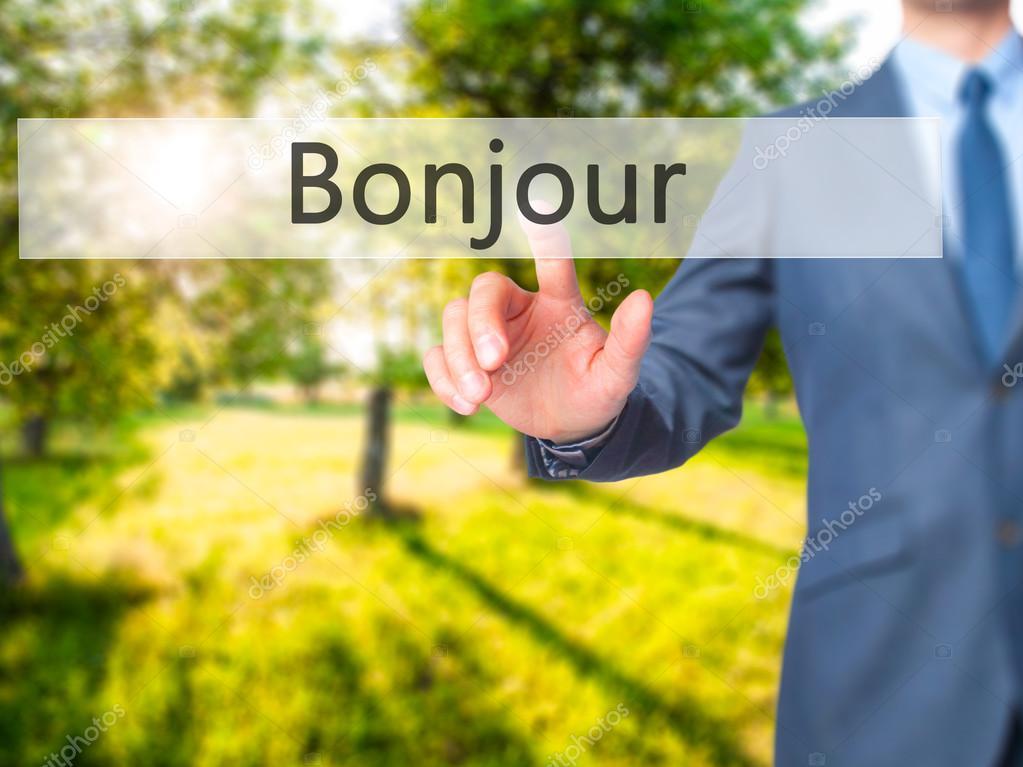 Bonjour Guten Morgen Auf Französisch Geschäftsmann Hand