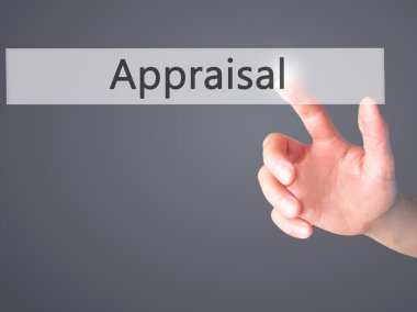 Appraisal - Hand pressing a button on blurred background concept