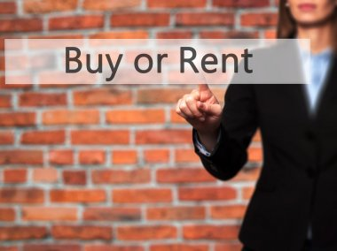 Buy or Rent - Isolated female hand touching or pointing to butto
