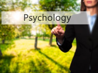 Psychology  - Isolated female hand touching or pointing to butto