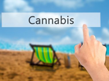 Cannabis - Hand pressing a button on blurred background concept