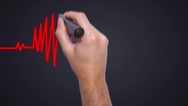 Obchodník s kreslicím grafem srdce-muži psát s markerovou značkou. Zdravotní koncepce. Srdce bije ve tvaru srdce. 4k