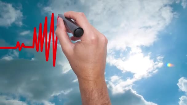 Businessman hand drawing chart heartbeat - Man Hand writing with marker on sky time lapse. Health concept. Heart in the clouds.