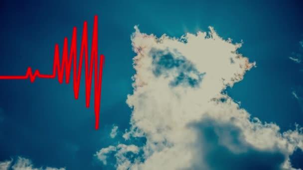 Heart Beat in shape of heart. Seamless loop blue background EKG electrocardiogram pulse real waveform. Health concept. 4k