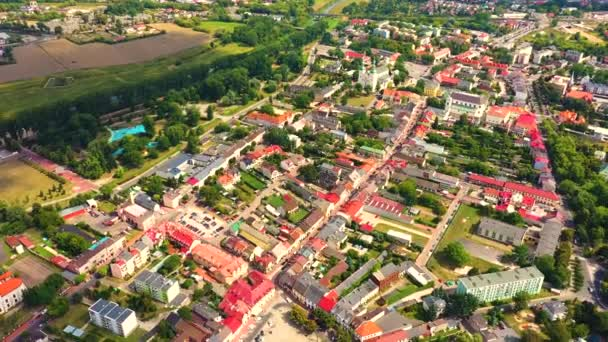 Landscape of the old town from the air with the visible. View on historic buildings on the market. Lowicz, Poland Aerial