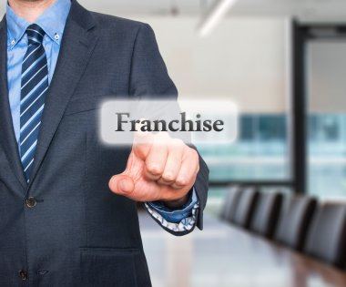 Business concept businessman pointing Franchise. Stock Image