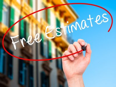 Man Hand writing Free Estimates with black marker on visual scre