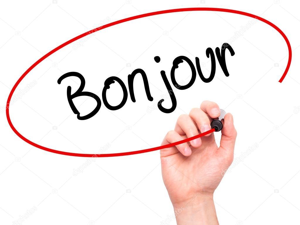 Hand Des Mannes Bonjour Guten Morgen Auf Französisch Mit