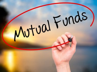 Man Hand writing Mutual Funds  with black marker on visual scree