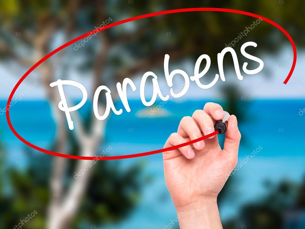 grattis på portugisiska Man Hand skriver parabener (Grattis i portugisiska) med bl  grattis på portugisiska