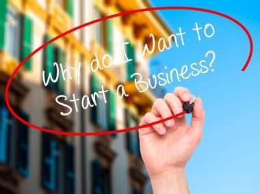Man Hand writing Why do I Want to Start a Business? with black m