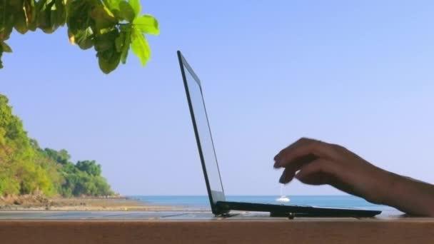 Dívka pracuje na notebooku na pláži. Služební cesty