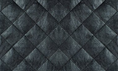 Black quilted leather fabric close up, abstract background stock vector