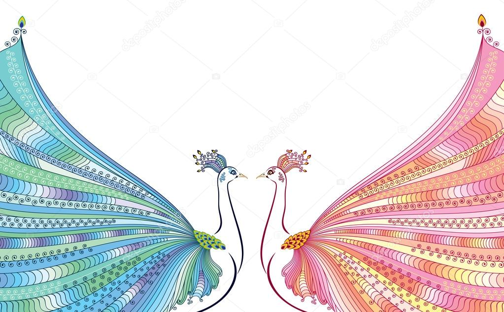 Colorful vector illustration of two abstract stylized peacocks colorful vector illustration of two abstract stylized peacocks opposite each other with luxurious tails design for invitation and greeting card m4hsunfo