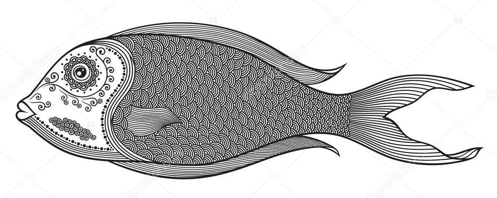 Illustrazione vettoriale di isolato pesci stilizzati - Pagine da colorare pesci per adulti ...