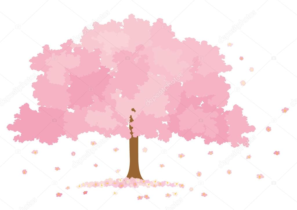 Vector illustration of blossom tree on white background