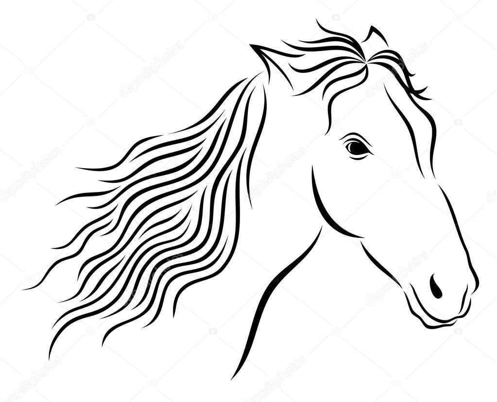 Ilustración de vector de la cabeza del caballo salvaje abstracta ...