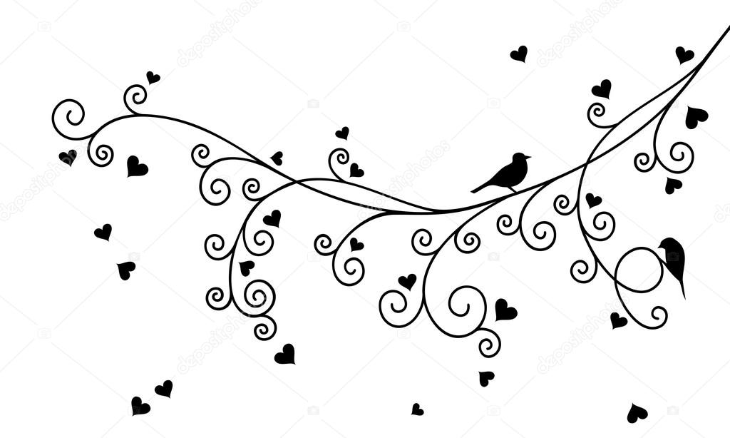 Vector illustration of abstract curly Valentine tree branch with hearts and two birds in black color.