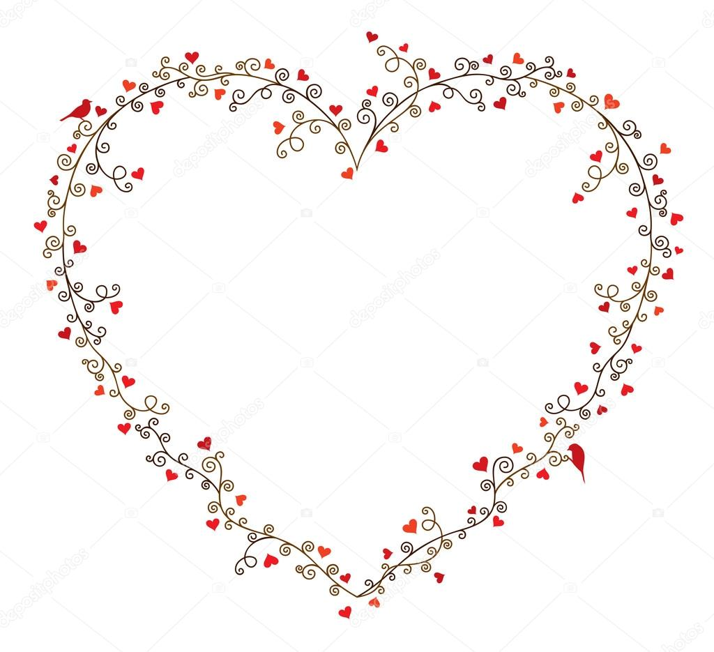 Valentine S Day Vector Frame For Text Composition Of Curly Tree