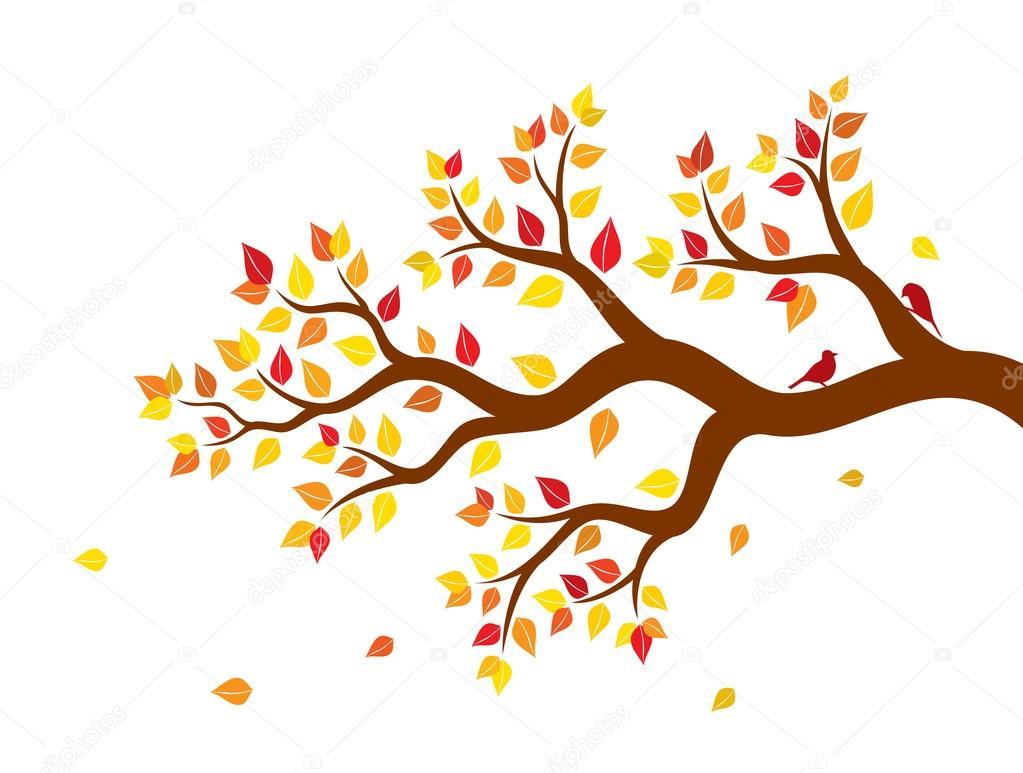 Ilustración De Vector De Otoño Rama De árbol Con Hojas