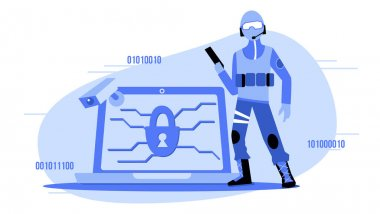 Data security scene illustration. Cyberattack protection icon