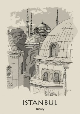 ISTANBUL, TURKEY - View from Hagia Sophia to the Blue Mosque. Hand created sketch. Postcard, poster