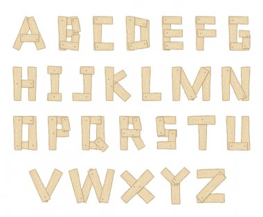 Hand Drawn Wooden Alphabet