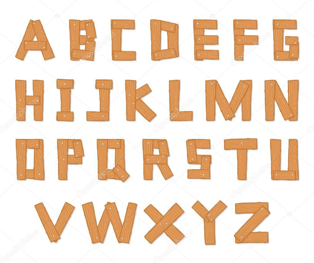 Hand Drawn Wooden Alphabet
