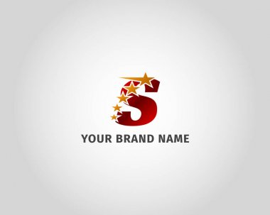 Letter S red metallic with five golden star logo template icon
