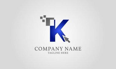 Mouse click pixel digital letter K icon