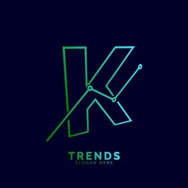 dynamic outline letter K trends statistic vector logo design