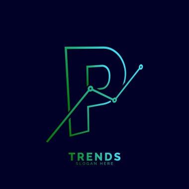 dynamic outline letter P trends statistic vector logo design