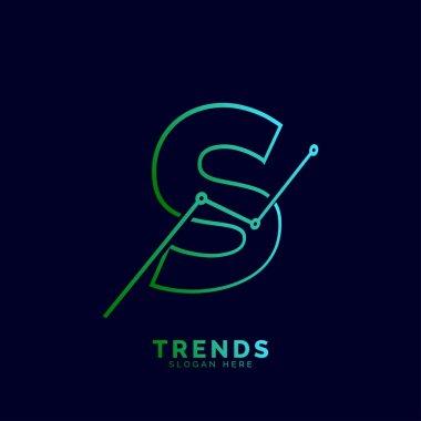 dynamic outline letter S trends statistic vector logo design