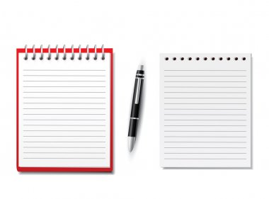 Blank Notebooks with pen on white background stock vector