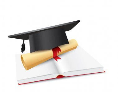 Graduation cap with scroll