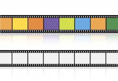 Videotapes or films set on white background stock vector