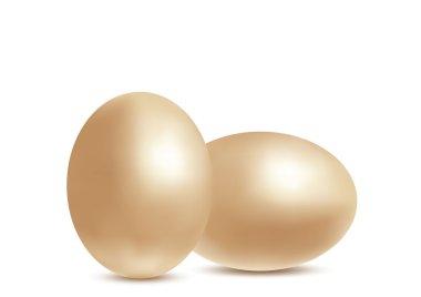 Golden realistic eggs
