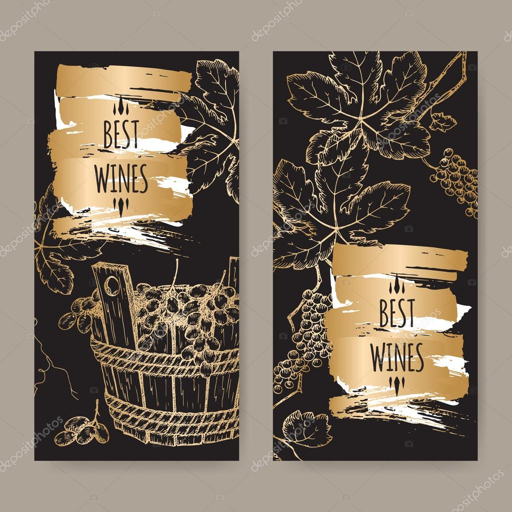 2 elegant wine label templates with grapevine and grapes