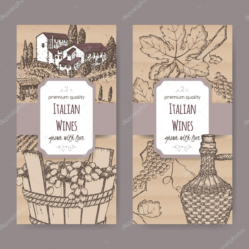 Two Italian wine label templates on cardboard background