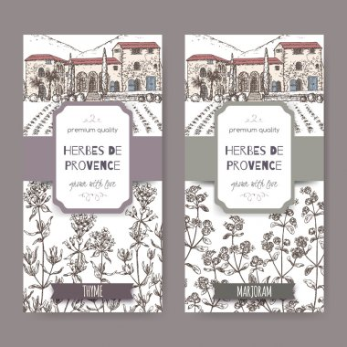 Two Herbes de Provence labels with mansion, thyme and marjoram