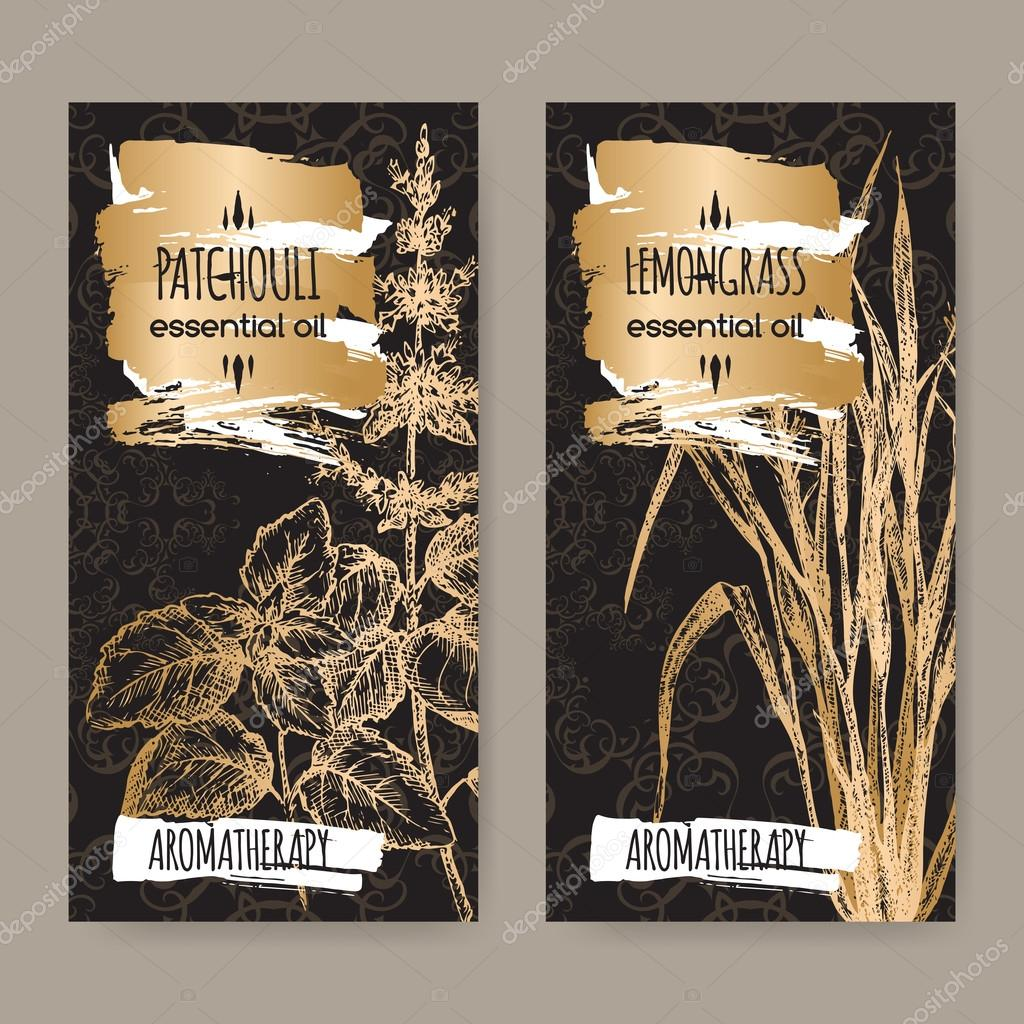 Two labels with Patchouli and lemongrass on black background.