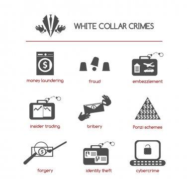 Set of white collar crime icons