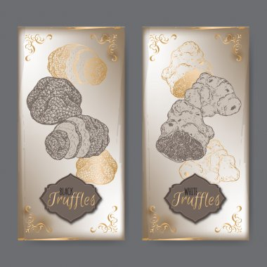 Set of two vintage labels with white and black truffles.
